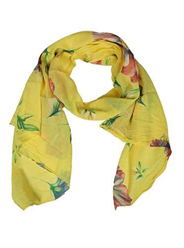 Zwillingsherz Zwillingsherz Seiden-Tuch mit Blumen Motiv - Hochwertiger Schal für Damen Mädchen - Halstuch - Umschlagstuch - Loop - weicher Schlauchschal für Frühjahr Sommer Herbst und Winter - gelb