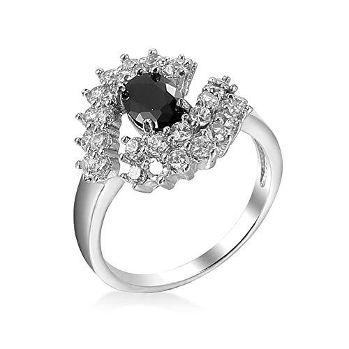 Gualiy Anillos de boda para mujer, chapado en plata, anillo de compromiso irregular para mujer, Cubic Zirconia,