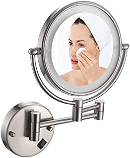 Makeup Mirror Wall Mounted Makeup Mirror Chrome, 8 inch Mirror 3X Magnifying, Double Sided 360° Rotation Bathroom Mirror, Extendable Vanity Mirror for Bathroom Hotels, Nickel Wire Drawing,5X