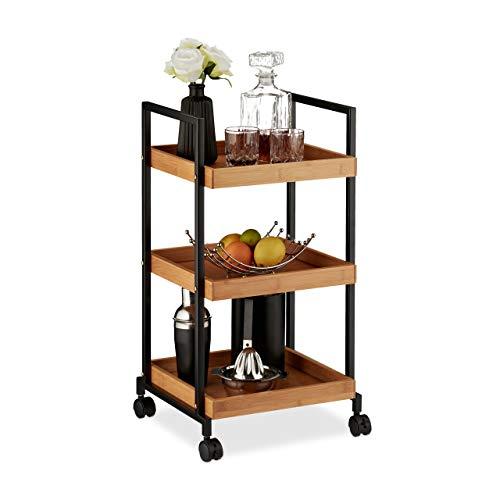 Relaxdays Servierwagen, moderner Küchentrolley, Bambus & Eisen, 3 Böden, quadratisch, 4 Rollen, 69,5 x 37 x 34 cm, natur