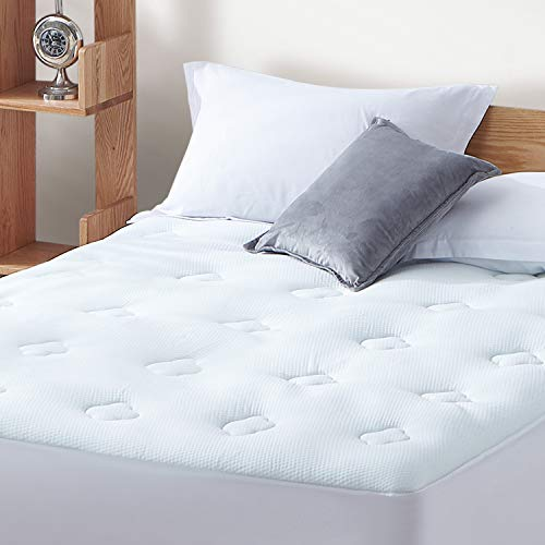 Hansleep Gel Memory Foam Mattress Pad Full, Bamboo Mattress Pad Fluffy Mattress Protector with Deep Pocket, Breathable Cooling Air Mattress Topper Cover, 54x75 Inches