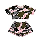 Kids ToddlerBaby Girls Shorts Outfits Set Leopard Print Ruffle Dress T-Shirt Tops+Short Pants 2Pc Summer Clothes Set (Pink-Camouflage, 18-24Months, 18_Months)