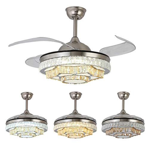 Moderne LED unsichtbare Ventilator helles Wohnzimmer Esszimmer Schlafzimmer Deckenventilator Licht Moderne Halle Mode Kristall-Kronleuchter (Size : 107 * 46cm)