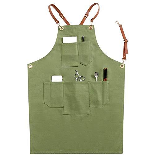 Yehudi Adams Hausgarten-Denim Arbeit Schürzen PU Lederband Schürze Barista Barber Overalls Restaurant Gardener Schürze Arbeitskleidung Supplies (Color : G)