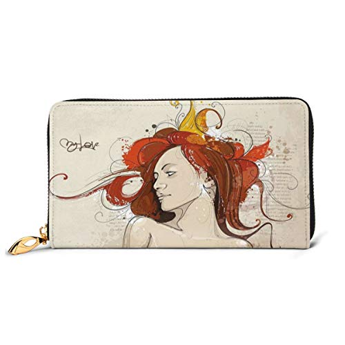 Women's Long Leather Card Holder Purse Zipper Buckle Elegant Clutch Wallet, Muse Woman Portrait In Grunge Style Elegance Hand Drawn Mystic Beauty Picture,Sleek and Slim Travel Purse