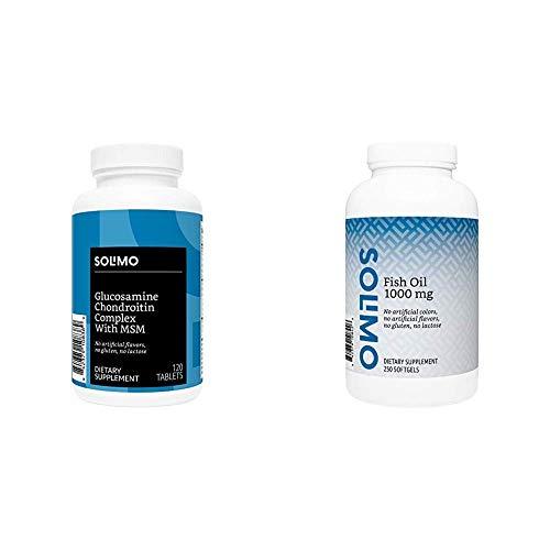 Amazon Brand - Solimo Glucosamine Chondroitin Complex with MSM, 120 Tablets, Glucosamine 1500mg, Chondroitin/MSM Complex 1103mg & Solimo Fish Oil 1000 mg, 250 Softgels, Eight Month Supply