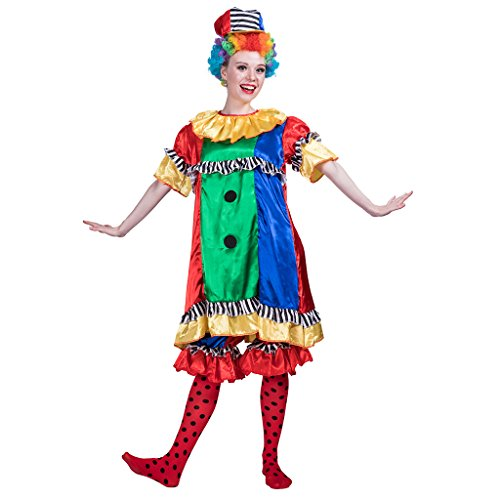 EraSpooky Damen Zirkus Faxenmacher Clown Kostüm Faschingskostüme Cosplay Halloween Party Karneval Fastnacht Kleid für Erwachsene