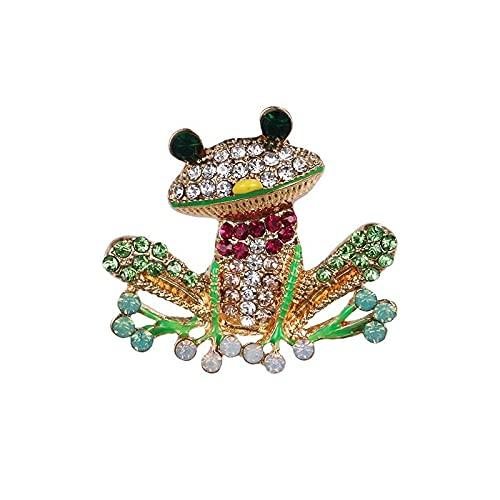 Verde y rojo Crystal Rana Broche Pins Moda Mujer Vestido Joyería Accesorios