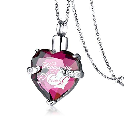 VNOX Edelstahl rosa CZ Kristall Herz Feuerbestattung Urne Herz Esche Anhänger Halskette Immer in Meinem Herzen graviert