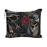 Hollywood Undead Travel Blankets and Pillows with Luggage Strap Can Be Used to Sleep Warm and Soft 2 in 1 Combo Blanket for Airplanes, Camping, Cars | Large Blanket Set; 60 X 43