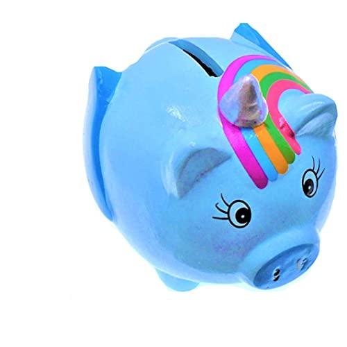 Azul, Pintado a Mano, Unicornio arcoíris, Hucha, Bote de Dinero, Caja de Ahorro, Cerdo de Porcelana.