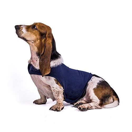 Chaqueta de ansiedad para perro, ligera, abrigo para ansiedad, terapia instantánea para perros ansiosos, alivio de estrés, camiseta cálida y suave, chaleco calmante para mascotas (M, azul)