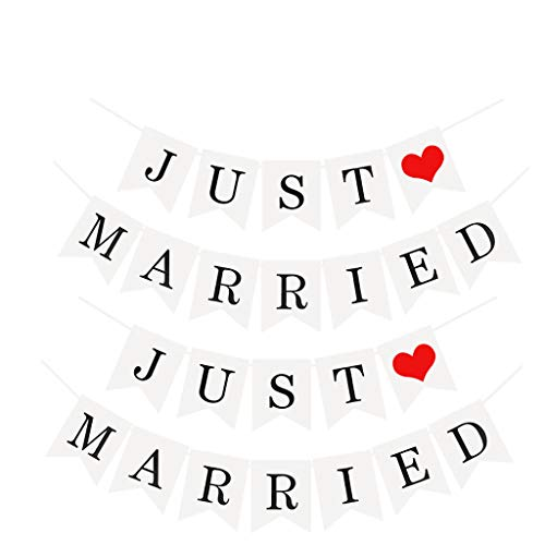 2 unidades de guirnalda de banderines Just Married recién casados guirnaldas Just Married Banner just married guirnalda boda banderas con lazo, decoración para bodas o fotografía