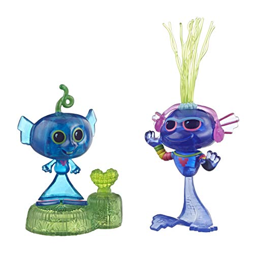 Hasbro DreamWorks Trolls World Tour Techno Riff Wackelspaß mit 2 Figuren, 1 mit Wackelbewegung plus Sockel, Spielzeug zum Film Trolls World Tour