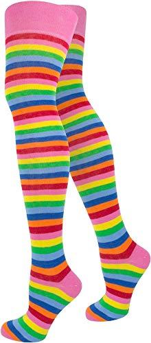 normani Top modische Damen Overknees in verschiedenen Designs/Baumwolle mit Elasthan Auswahl Farbe Bunt/Schmal Größe OneSize