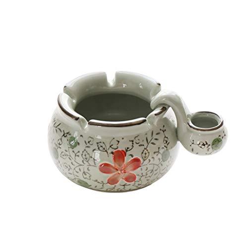 GUI Cenicero de Estilo japonés Pintado a Mano Sub-Esmalte Cenicero de cerámica for la Oficina en casa con Fregadero Auspicioso roja Flor Cenicero (Color : B)