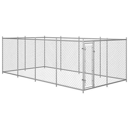 Festnight Outdoor Hundezwinger Hundehütte Hundehaus Hundekäfig Outdoor Verschließbares Riegelsystem 8x4x2 m