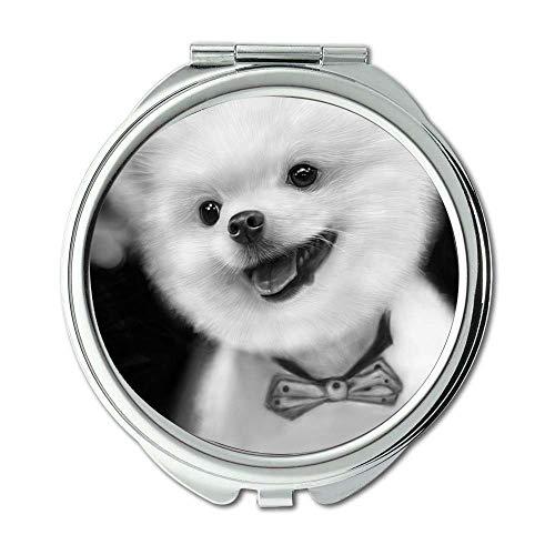 Yanteng Spiegel, Compact Mirror, Mops Hund niedlichen Hund Kostenloser Download, Taschenspiegel, 1 X 2X Lupe