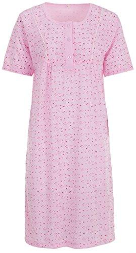 Zeitlos Lucky Nachthemd Damen Kurzarm Schmetterling Spitze Knöpfe, Farbe:rosa, Größe:2XL