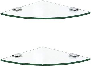LGR Bathroom Wall Basin Sink Glass Corner Shelves Modern ruck Triangular Glass Shelf for Home,2 x Glass (Size:30cm)