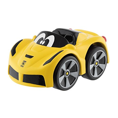 Chicco - Mini vehículo Ferrari F12 TDF Turbo Touch, con carga por retroceso, color amarillo