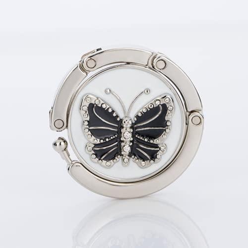 ZOVCO Gancho para bolso plegable, colgador de bolso de bolsillo y ganchos, ganchos para bolso para la conservación de la bolsa de mesa, portabolsos para bolsos de mujer - Modelo mariposa