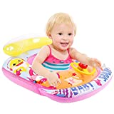 FiGoal Cartoon Seat Ring for Children with Wheel and Horn Swimming Float Seat Boat Fun Swim Toy Pool Swim Ring for Toddler Water Fun Summer Beach Floaty Toys for Kids