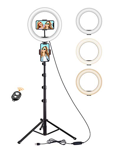 """Luce ad Anello, Techvilla 10"""" LED Ring Light con Telecomando Wireless, con 3 Modalità di illuminazione e 10 Luminosità, Selfie Light per Youtube, TikTok, Autoritratto, Streaming live"""