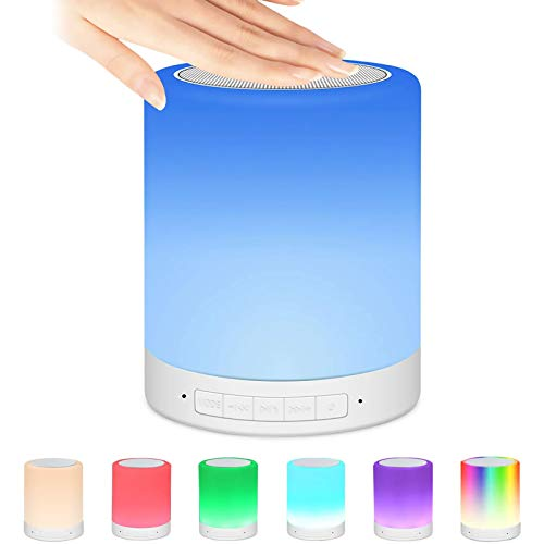 Nachttischlampe mit Bluetooth Lautsprecher, Berührungssensor Nachtlicht Nachttischlampe mit Wecker/Uhr/FM/TF Karte Slot, Stimmungslicht mit 7 Farbwechselnden Tragbaren, Nachttischlampe für Geschenke