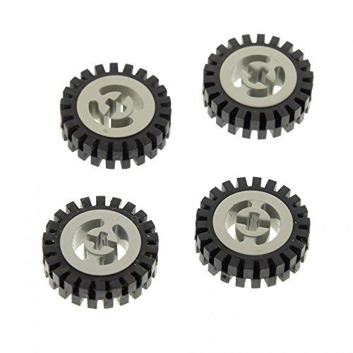 4 x Lego Technic Rad schwarz 24mm D. x 8mm Felge alt-hell grau Reifen Technik Räder komplett D. 2,5 cm 3482 3483...