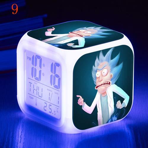 Color que cambia los regalos de los niños Rick y Morty de dibujos animados reloj despertador LED colorido color cambiante reloj estudiante regalo creativo despertador, Nº 9