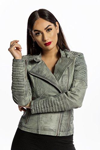 Urban Leather Fashion Lederjacke - Sylvia, Hellgrau, L