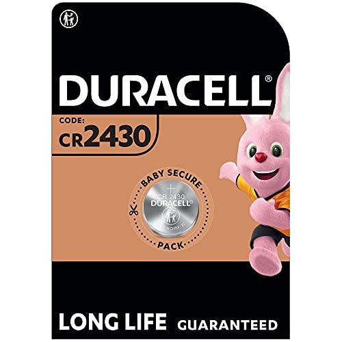 Duracell Pila especial de botón de litio 2430 de 3V, paquete de 1 unidad DL2430/CR2430, diseñada para uso en llaves con sensor magnético, básculas, elementos vestibles y dispositivos médicos