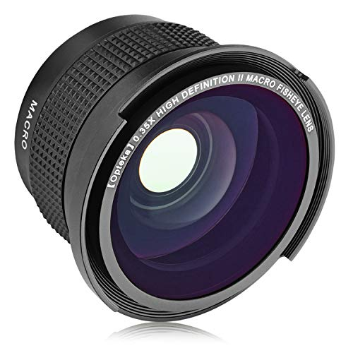 Opteka .35x HD Super Wide Angle Panoramic Fisheye Lens with Macro Close Up Attachment for Canon