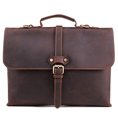 XY-backpack Comfort Shoulder Messenger Crossbody Satchel Casual Tote Bag,Coffee Color/Brown Men's Crazy Horse Leather Business Briefcase 15' Laptop Handbag Durable (Color : Coffee color)