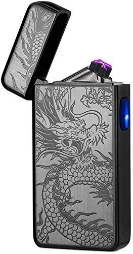 Electric Lighter Plasma Windproof Arc Lighter USB Rechargeable Electronic Lighter Cigarette,Candle Lighter (Black Dragon)