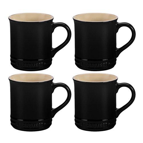 Le Creuset Shiny Black Stoneware 12 Ounce Coffee Mug, Set of 4