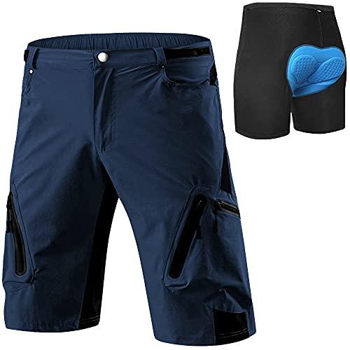 Cycorld MTB Hose Herren Radhose, Schnelltrocknend Mountainbike Hose Fahrradhose mit 4D Sitzpolster, Elastische Outdoor Sport Herren Radlerhose MTB Bike Shorts (DK Navy mit Unterwäsch, XL)