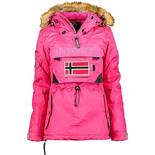 Geographical Norway BULLE LADY - Parka Impermeable Mujeres - Abrigo Grueso Capucha Exteriores - Chaqueta Cortavientos Invierno Cálida - Chaqueta Exteriores Para Mujeres ROSA L