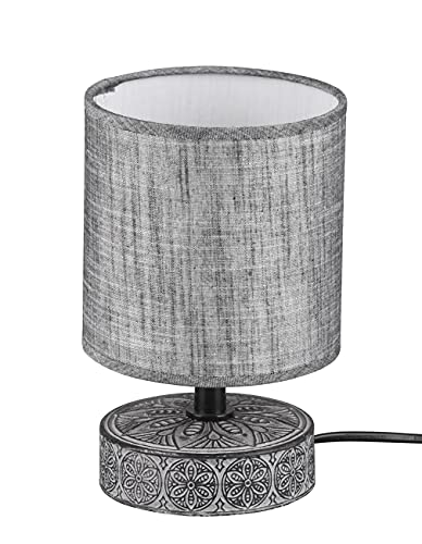 Lámpara de mesa con base de cerámica decorada con pantalla para mesilla de noche, lámpara de escritorio, lámpara para dormitorio, estudio, salón, gris, 20,5 cm de altura (gris)