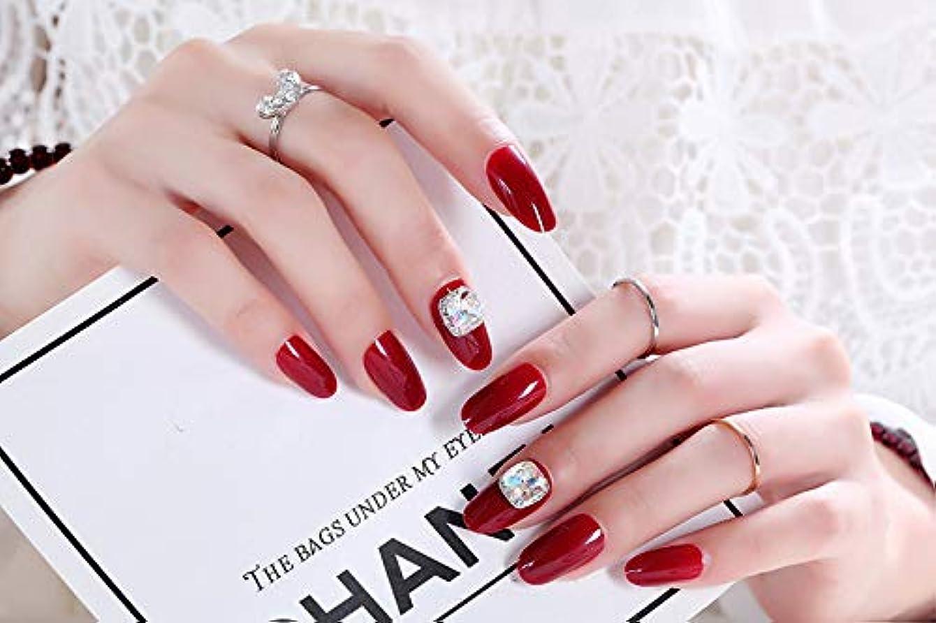 時レルム未払いネイルアートを着用する 24枚入 高品質 ジュエリーインレイ 人工ダイヤモンド 輝く エレガント 中位の長さ 手作りネイルチップ ネイル花嫁 (レッド)