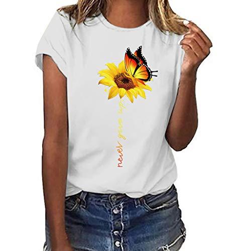 iHENGH Damen Top Bluse Bequem Lässig Mode T-Shirt Frühling Sommer Blusen Frauen Kurzarm kalte Schulter Leopard Print-Shirts lose Pullover lässig Top(Weiß, M)