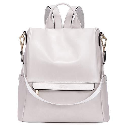 CLUCI Rucksack Damen Leder Mode Diebstahlsicherer Reiserucksack Schultertasche für Frauen 2 in 1 Weiß
