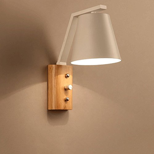 ZZYJYALG Lámpara de pared de madera maciza Estudio Pasillo Lámpara de pared Pared Luz de pared Dormitorio Dormitorio Faro Luz LED Arte Art Sconence Lámpara de pared (Color : Blanco)