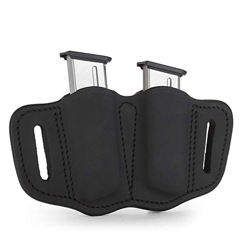 KoHolster Mag Holster - Double Mag Pouch for Single Stack Mags/OWB/Leather Magazine Holder/Sizes to Fit Virtually Any 9mm Pistol Mag (Black)