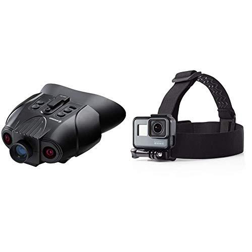 Bresser Digitales Nachtsichtgerät Binokular 3X mit digitaler Zoom-Funktion, zuschaltbarer Infratotbeleuchtung, großem Display, integriertem Akku & Amazon Basics Kopfgurt für GoPro Actionkamera
