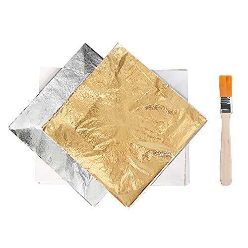 Papeles de imitación de papel de aluminio dorado para decoración, dorado de muebles, pintura, uñas de bricolaje, color dorado y plateado, 200 hojas de hoja de cobre de 14 x 14 cm con un pincel