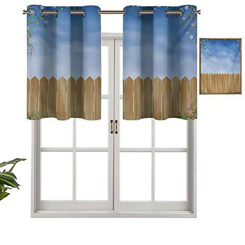 Hiiiman Cortinas térmicas aisladas con cenefa de cortina de madera para jardín con remolinos de primavera, paisaje sereno, juego de 2, 42 x 24 pulgadas para decoración de salón comedor