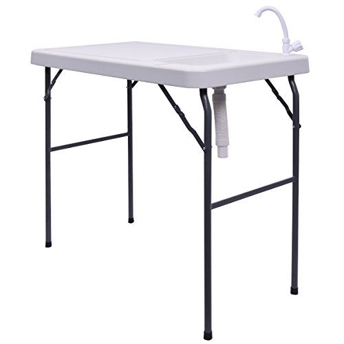 Goplus Portable Folding Table Fish Fillet Hunting Cleaning Cutting Camping Picnic Outdoor Gardening Table w/Sink Faucet (ABS Faucet)