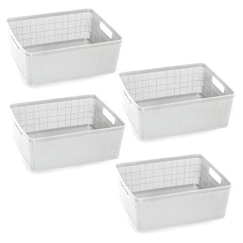 BINO Woven Plastic Storage Basket 4PK- M White